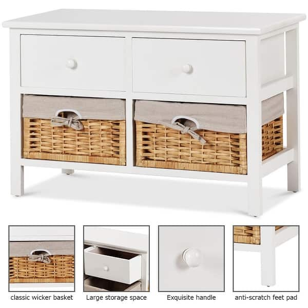 Drawer 2 Baskets Storage Bench