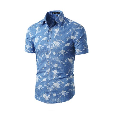 Men Short Sleeves Button Closed Fishbone Prints Cotton Shirt