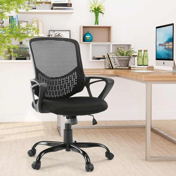 HOME Office Chair, Mid-back Lumbar Support Swivel Computer Mesh Chair. Opens flyout.