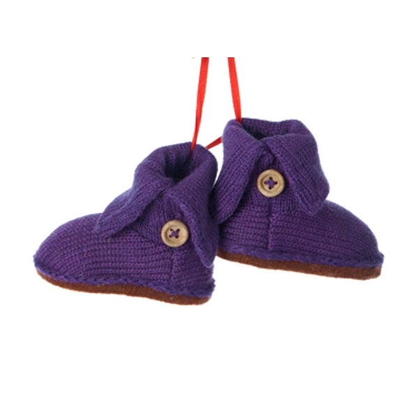 """4"""" Tween Christmas Purple Knit Boots with Beige Buttons Winter Ornament"""
