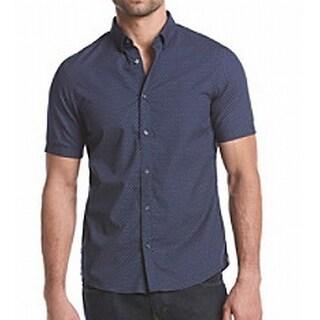 Michael Kors NEW Blue Mens Size 2XL Button Down Dotted Print Shirt