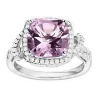 4 1/3 ct Natural Amethyst & White Topaz Cocktail Ring in Sterling Silver - Purple