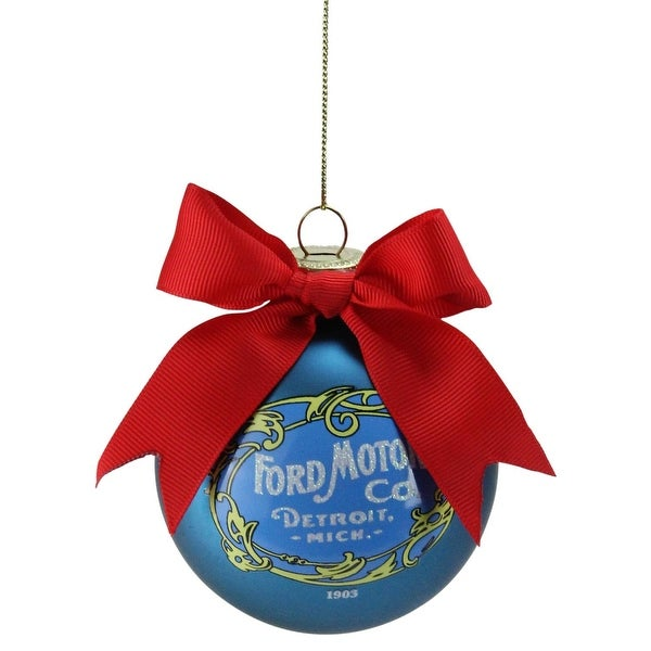 "2.75"" Blue ""Ford Motor Co."" Vintage-Style Logo Glass Ball Christmas Ornament"