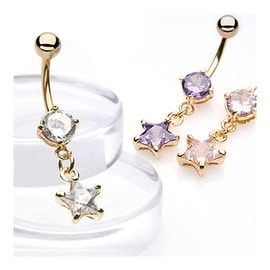 14kt Gold Plated Navel Ring with Star-Shaped CZ Dangle