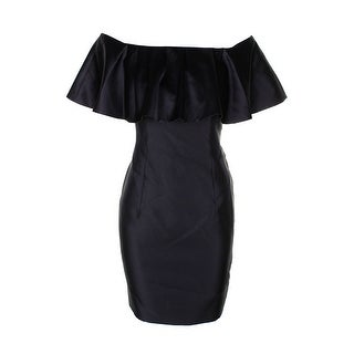 Adrianna Papell Black Ruffle Of The Shoulder Dress 2