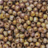 True2 Czech Glass, Round Druk Beads 2mm, 200 Pieces, Chalk Senegal Brown