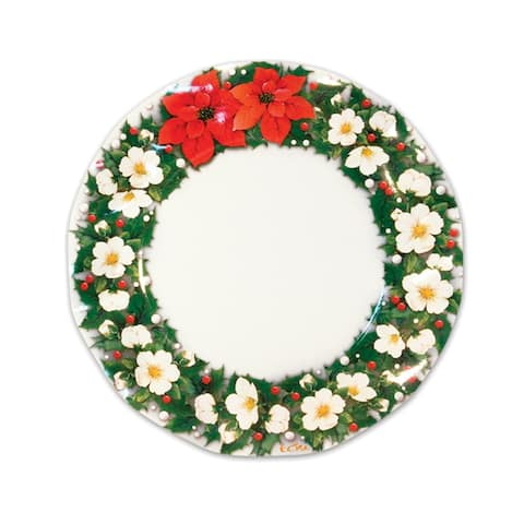 120ct Large Poinsettia with Holly and Berries Floral Plates Set 10.5 - N/A