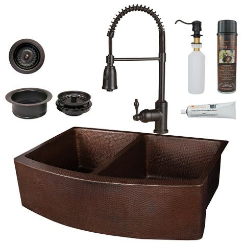 Premier Copper Products KSP4_KA50RDB33249 Kitchen Sink, Spring Faucet and Accessories Package