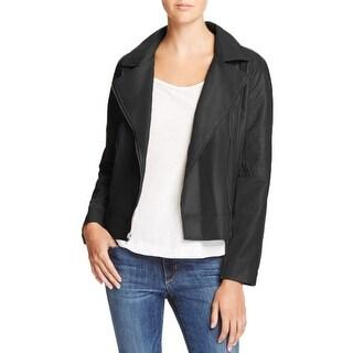 BB Dakota Womens Moto Coat Faux Leather Long Sleeve