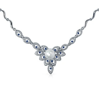 Bling Jewelry Rhodium Plated CZ Blue Flower Bridal Drop Necklace 16 Inches