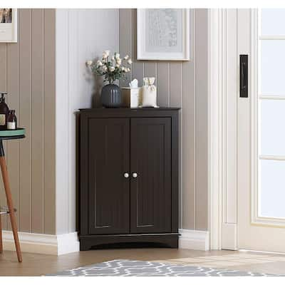 Spirich Home Floor Corner Cabinet with Two Doors and Shelves, Free-Standing Corner Storage Cabinets,White