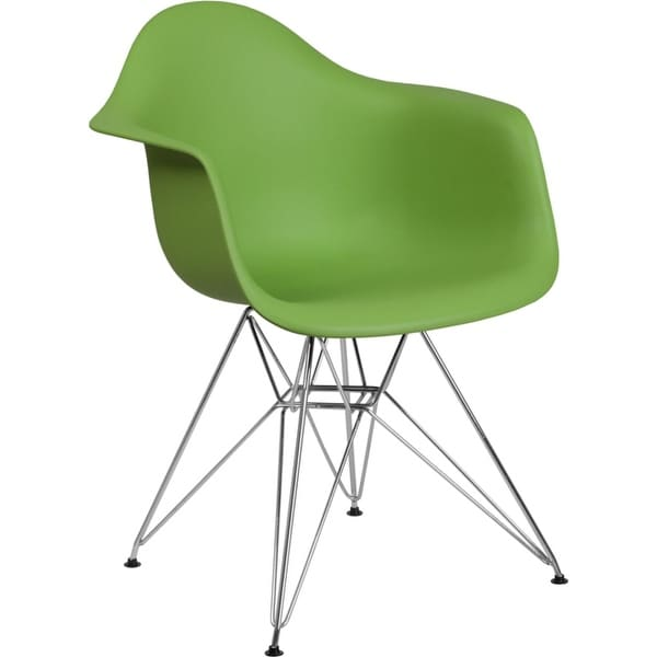 Offex Green Plastic Accent Side Chair with Chrome Base [OFX-456822-FF]