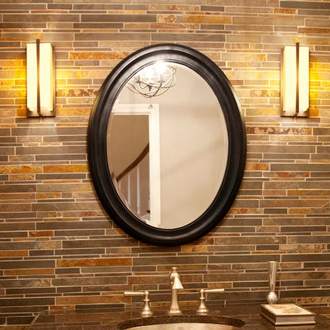 George Oval Frame Wall Mirror - Matte Black