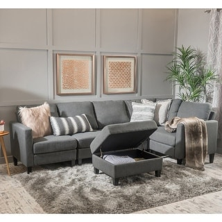 Link to Zahra 6-piece Sofa Sectional with Storage Ottoman by Christopher Knight Home Similar Items in Living Room Furniture