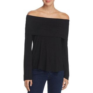 K&C Womens Pullover Top Fold Over Neck Hi-Low Hem