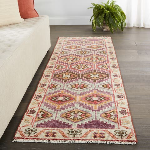 Melek Hand-Knotted Tribal Purple/ Pink Runner Rug