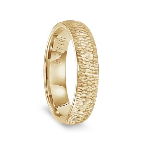 14k Yellow Gold Hammered Finish Women's Flat Wedding Band by Diana - 5.5mm