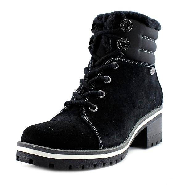 Anne Klein Sport Langstyn Women Round Toe Leather Black Ankle Boot