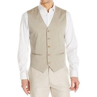 Perry Ellis NEW Beige Mens Size Medium M Five-Button Two-Pocket Vest