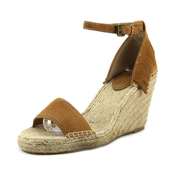 Frye Lila Feather Wedge Women Open Toe Suede Tan Wedge Sandal