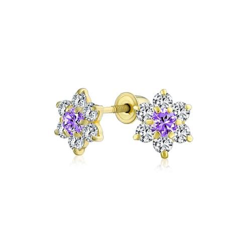 Tiny CZ Flower Stud Earrings 14K Gold Screwback Birthstone Colors