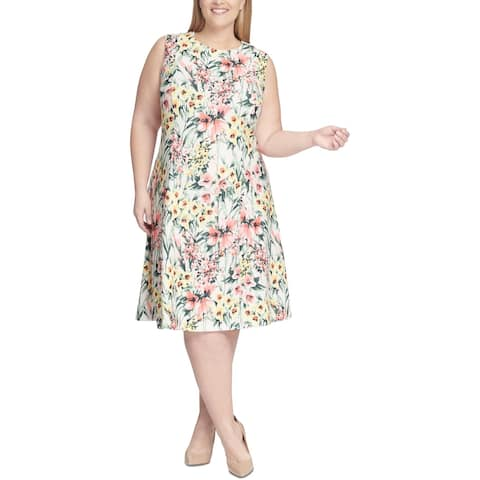 Tommy Hilfiger Womens Plus Party Dress Floral Fit & Flare - Peach Multi