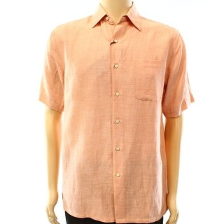 Tasso Elba NEW Orange Mens Size Small S Pocket Button Down Silk Shirt