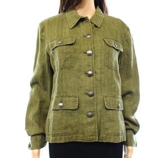 Lauren Ralph Lauren NEW Green Womens Size 6 Herringbone Linen Jacket