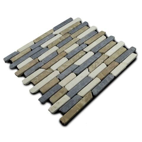 Miseno MT-L3RTWG Strip Mosaic Natural Stone Tile (9.9 SF / Carton) - Tan / White / Gray Blend