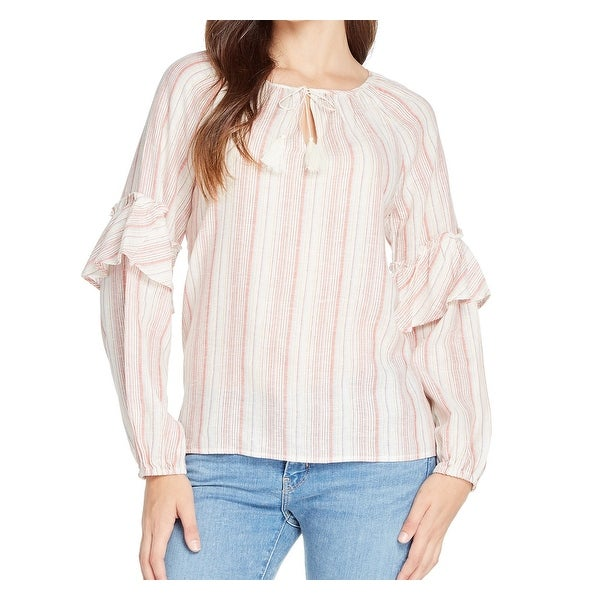 Sanctuary Red Women's Size Small S Striped Ruffle Kehole Blouse