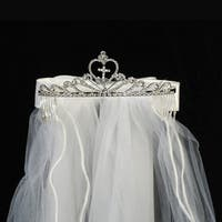 "Girls White Cross Rhinestone Satin Bow Communion 24"" Veil Tiara"