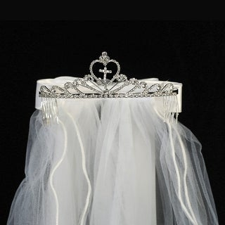 "Girls White Cross Rhinestone Satin Bow Communion 24"" Veil Tiara"