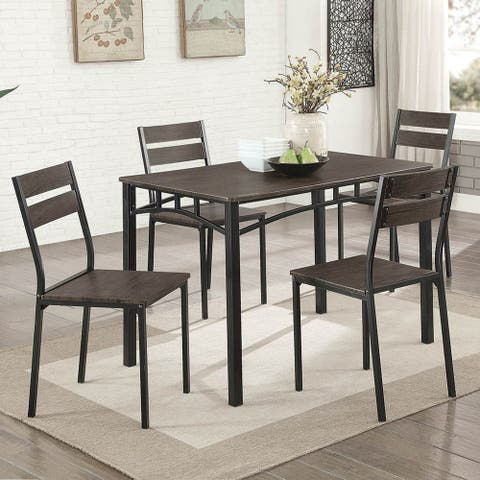 Furniture of America Vae Rustic Brown Metal 5-piece Dining Set