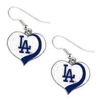 Los Angeles Dodgers Mlb Glitter Heart Earring Swirl Charm Set