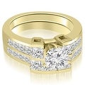 2.70 cttw. 14K Yellow Gold Channel Set Diamond Princess and Round Cut Bridal Set - Thumbnail 0