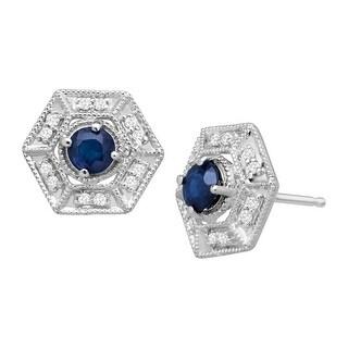 5/8 ct Natural Kanchanaburi Sapphire & 1/8 ct Diamond Hexagon Stud Earrings - Blue