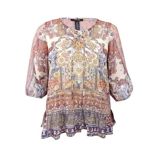c4d67fb29ce Women s Plus Size Printed Peasant Blouse - Free Shipping On Orders Over  45  - Overstock.com - 20346380