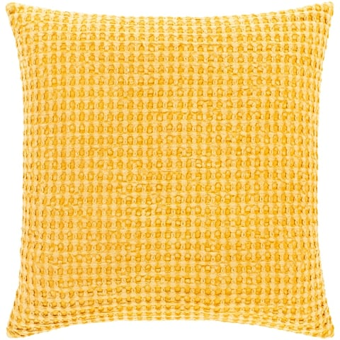 Whitley Faded Waffle Weave Cotton Throw Pillow