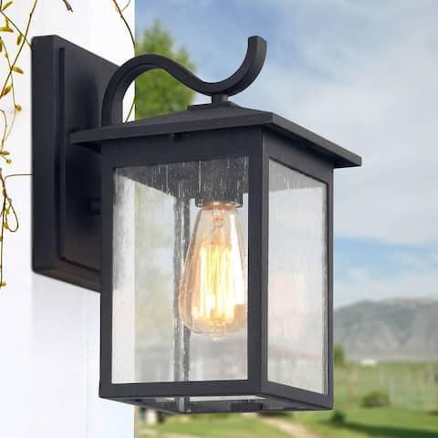 "LNC 1-Light Black Outdoor Wall Lantern Wall Seeded Glass Sconces - W7""x H12.2""x E9"""