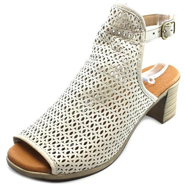 Eric Michael Tiffany Women Open-Toe Leather Ivory Slingback Heel