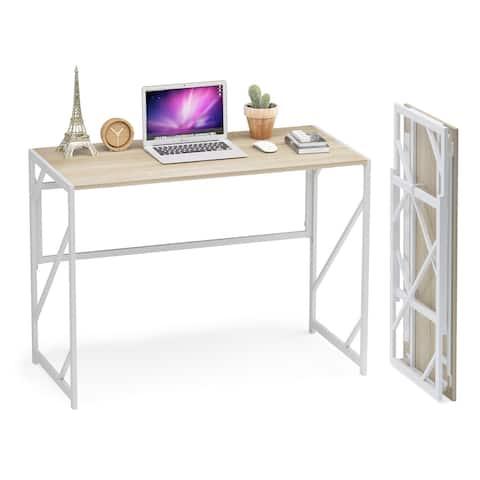 Teraves Folding Desk Small Computer Desk Study Corner Desk Writing Table for Home Office