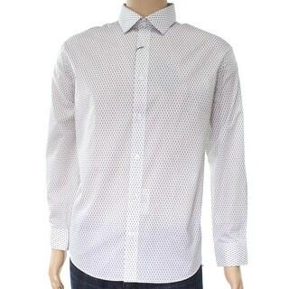 William Rast NEW White Mens Size Medium M Slim Pattern Dress Shirt