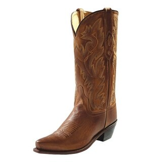 Old West Cowboy Boots Men Cushioned Leather Snip Toe Tan Canyon