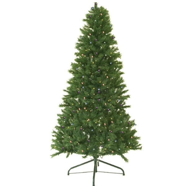 7' Pre-Lit Canadian Pine Artificial Christmas Tree - Multi LED Lights - green