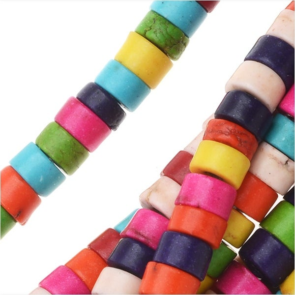 Dyed Magnesite Gemstone Beads, Heishi Cylinders 2.5x4mm, 15.5 Inch Strand, Multi Color