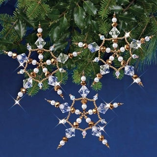 Crystal & Gold Stars - Nostalgic Christmas Beaded Crystal Ornament Kit