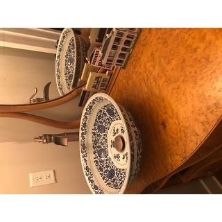 Fontaine Antiqued Blue and White Porcelain Bathroom Vessel Sink