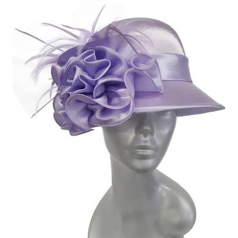 Dressy designer satin covered Straw Sinamay womens Hat