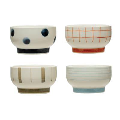 Round Stoneware Bowl, Set of 4 Styles