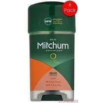 Mitchum 6-Pack Men Oxygen Odor Control Sport Gel Antiperspirant Deodorant, Sport, 2.25 Ounces - Green - N/A